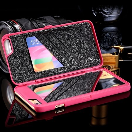 2015 Fashion Lady Necessary 3D Water Pattern Flip Pu Leather Case  32278322685-2-Hot Pink