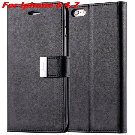 Luxury Wallet Flip Leather Case For Iphone 6 /Iphone 6 Plus Stand  32279124341-1-Black For Iphone 6