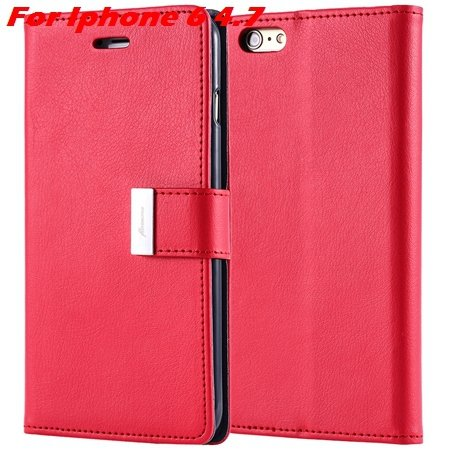 Luxury Wallet Flip Leather Case For Iphone 6 /Iphone 6 Plus Stand  32279124341-2-Red For Iphone 6