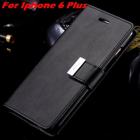 Luxury Wallet Flip Leather Case For Iphone 6 /Iphone 6 Plus Stand  32279124341-7-Black For I6 Plus