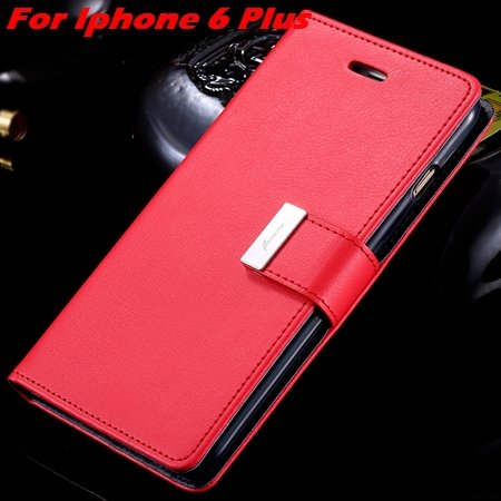 Luxury Wallet Flip Leather Case For Iphone 6 /Iphone 6 Plus Stand  32279124341-8-Red For I6 Plus
