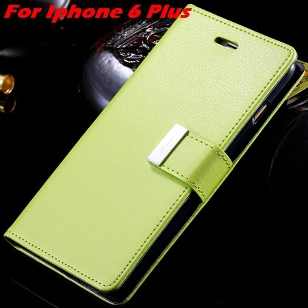 Luxury Wallet Flip Leather Case For Iphone 6 /Iphone 6 Plus Stand  32279124341-9-Green For I6 Plus