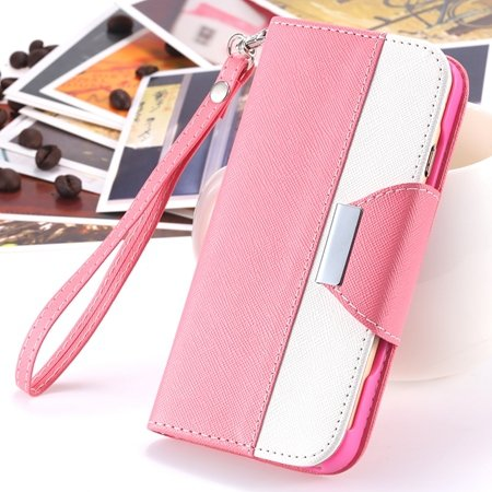 """2014 Hot Double Color Flip Pu Leather Case For Iphone 6 Plus 5.5""""""""  2054281808-1-Pink and White"""