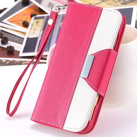 "2014 Hot Double Color Flip Pu Leather Case For Iphone 6 Plus 5.5""""  2054281808-2-Hot Pink and White"