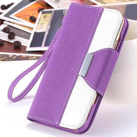 """2014 Hot Double Color Flip Pu Leather Case For Iphone 6 Plus 5.5""""""""  2054281808-3-Purple and White"""