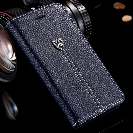 Luxury Business Top Quality Flip Genuine Leather Cover Case For Ap 32271242622-4-Deep Blue