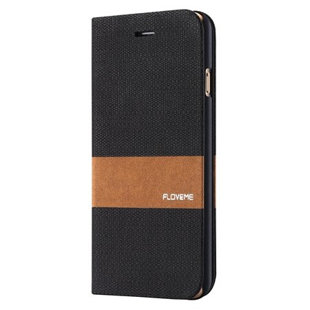 For Iphone 6 5.5 Wallet Case Linen Soft Feeling Pu Leather Case Fo 32274916315-1-Black
