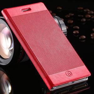 Luxury Retro Red Grid Pattern Pu Flip Leather Case For Apple Iphon 32226170304-2-Red