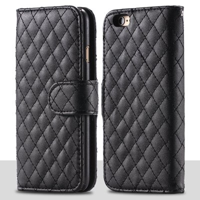 For Iphone 6 Plus Case Retro Deluxe Sheapskin Grid Leather Case Fo 32257881049-1-Black