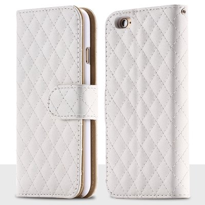 For Iphone 6 Plus Case Retro Deluxe Sheapskin Grid Leather Case Fo 32257881049-2-White