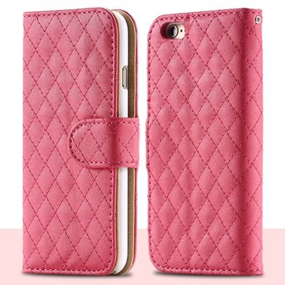 For Iphone 6 Plus Case Retro Deluxe Sheapskin Grid Leather Case Fo 32257881049-4-Hot Pink
