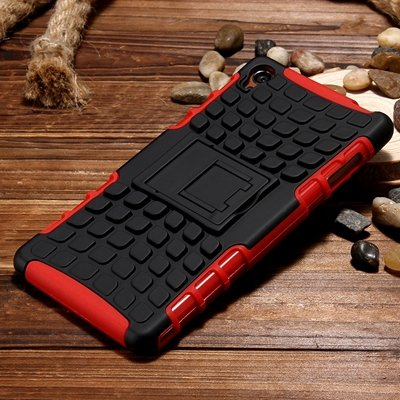 Z3 Case Retro Cool Luxury Slip-Proof Kick-Stand Armor Case For Son 32270150376-7-Red
