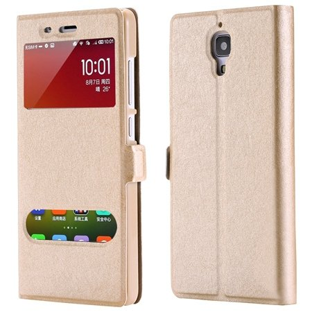For Xiaomi4 Window View Cases Gold Retro Luxury Soft Silk Pu Leath 32284027604-3-Gold
