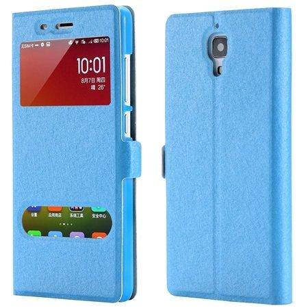 For Xiaomi4 Window View Cases Gold Retro Luxury Soft Silk Pu Leath 32284027604-4-Sky Blue