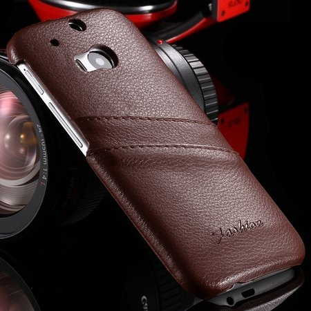 Retro Black Luxury Lychee Pattern Genuine Leather Case For Htc One 2047312352-1-Brown