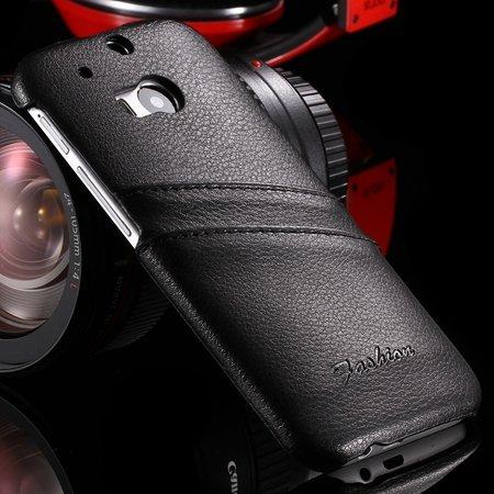 Retro Black Luxury Lychee Pattern Genuine Leather Case For Htc One 2047312352-2-Black