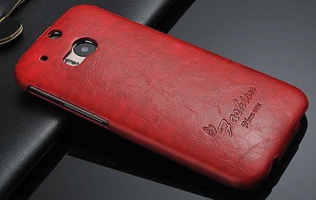 M8 Case Soft Feeling Wax Pu Leather Case For Htc One M8 Flip Cell  32267803160-2-Red