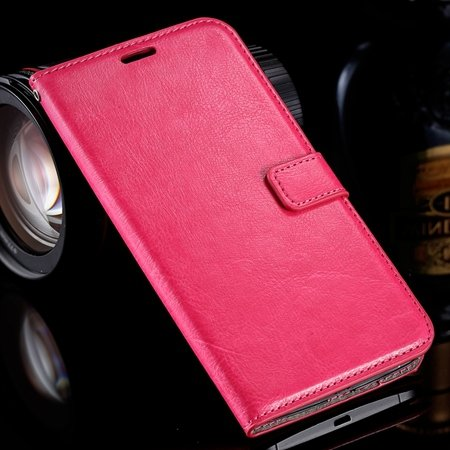 For Nexus 6 Flip Stand Wallet Case Retro Luxury Pu Leather Case Fo 32278197496-6-Hot Pink