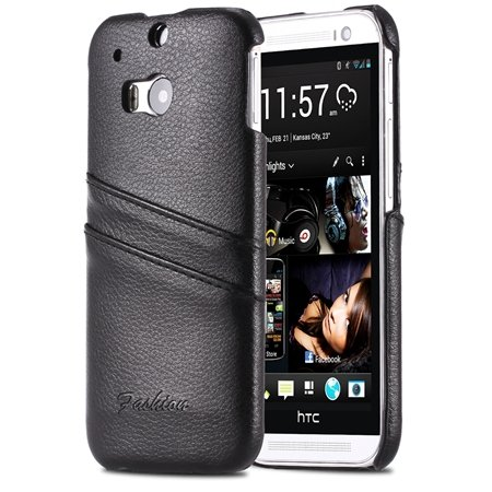 M8 Back Leather Case Luxury Lychee Pattern Genuine Leather Case Fo 2047306280-2-Black