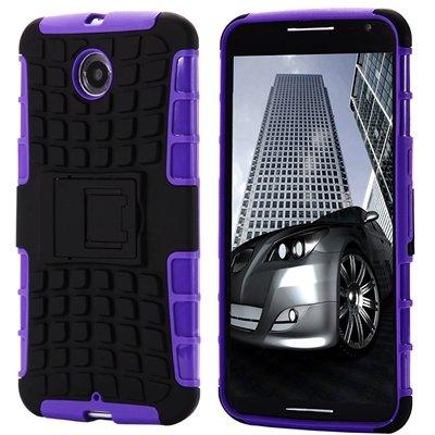 For Nexus 6 Hard Back Case Unique Slip-Proof Tough Kick-Stand Case 32294450416-2-Purple