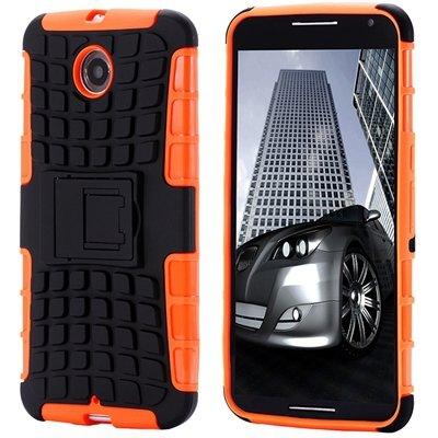 For Nexus 6 Hard Back Case Unique Slip-Proof Tough Kick-Stand Case 32294450416-5-Orange