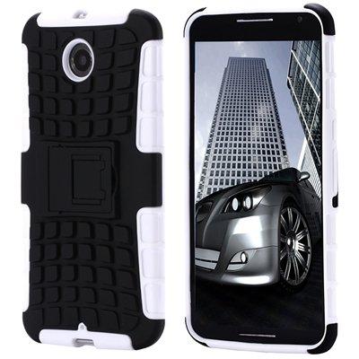 For Nexus 6 Hard Back Case Unique Slip-Proof Tough Kick-Stand Case 32294450416-8-White