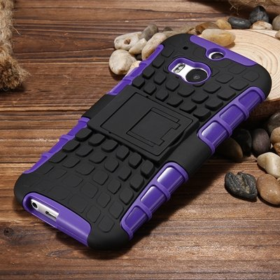 M8 Hard Back Case Luxury Retro Slip-Proof Kick-Stand Case For Htc  32295588948-6-Purple