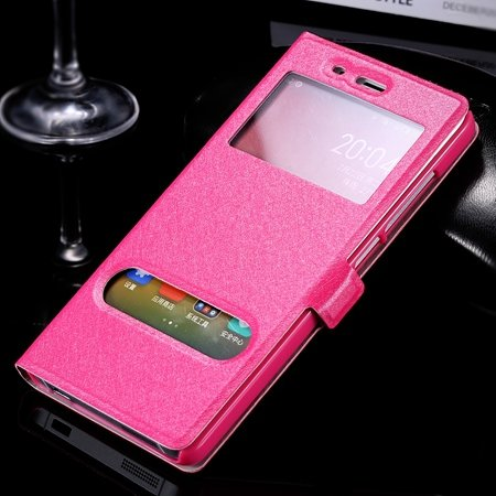 For Xiaomi4 Smart Cell Phone Cases Luxury Soft Slim Silk Pu Leathe 32283773119-5-Hot Pink