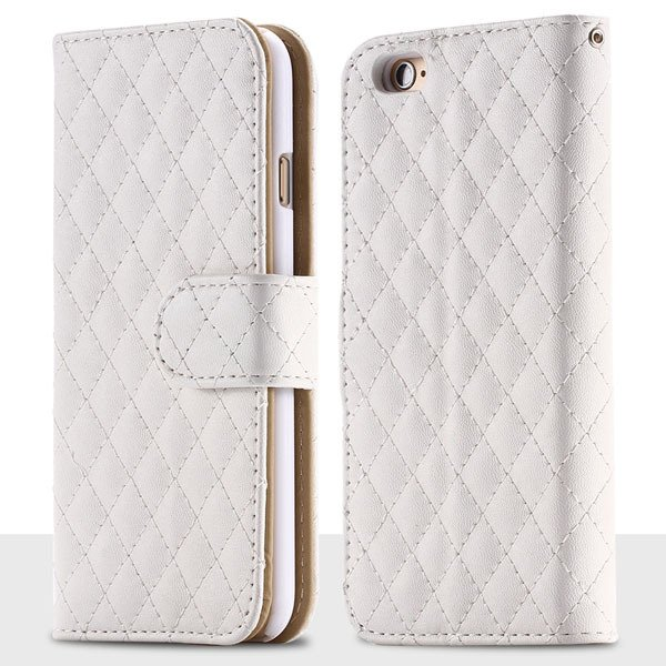 Classic Grid Structure Full Wallet Phone Cover For Iphone 6 4.7Inc 32241492900-2-white