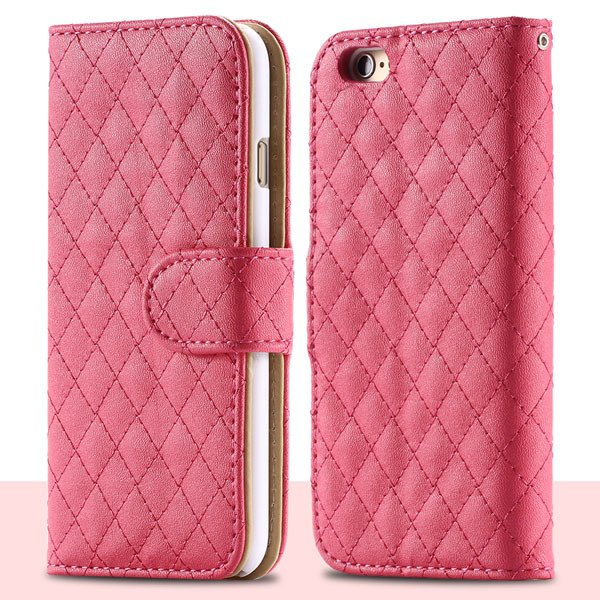 Classic Grid Structure Full Wallet Phone Cover For Iphone 6 4.7Inc 32241492900-4-hot pink