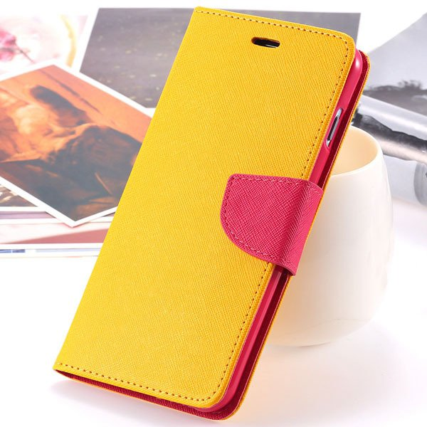 New Pu Leather Full Cover For Iphone 6 4.7 Inch Flip Phone Housing 2052907542-5-yellow