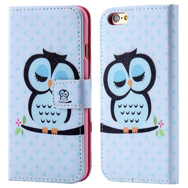 Luxury Mat Print Flip Cover For Iphone 6 4.7Inch Leather Case Stan 32247875125-3-sky blue owl
