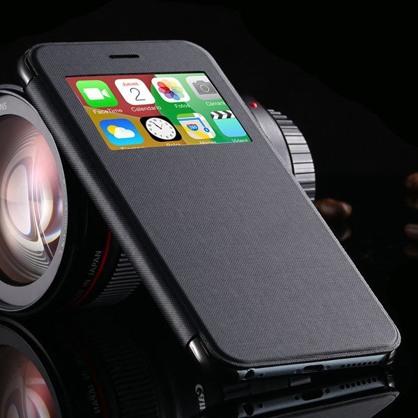 I6 Plus Window View Case For Iphone 6 Plus 5.5Inch Flip Pu Leather 32236780961-1-black