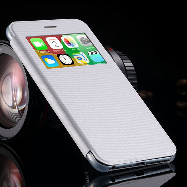 I6 Plus Window View Case For Iphone 6 Plus 5.5Inch Flip Pu Leather 32236780961-2-white