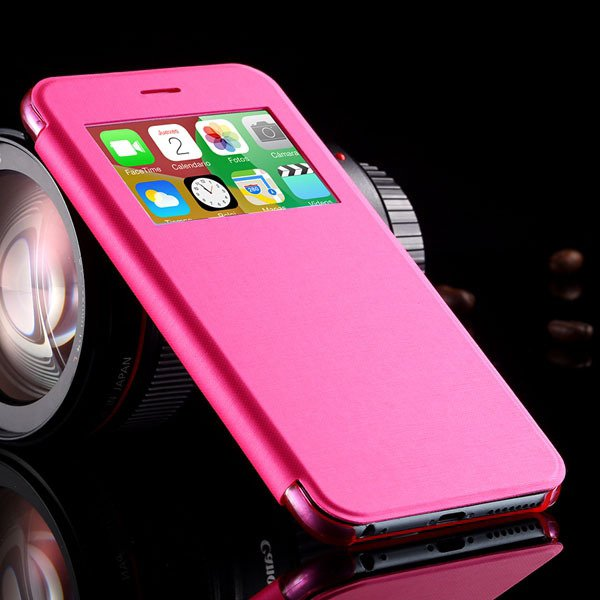 I6 Plus Window View Case For Iphone 6 Plus 5.5Inch Flip Pu Leather 32236780961-3-hot pink