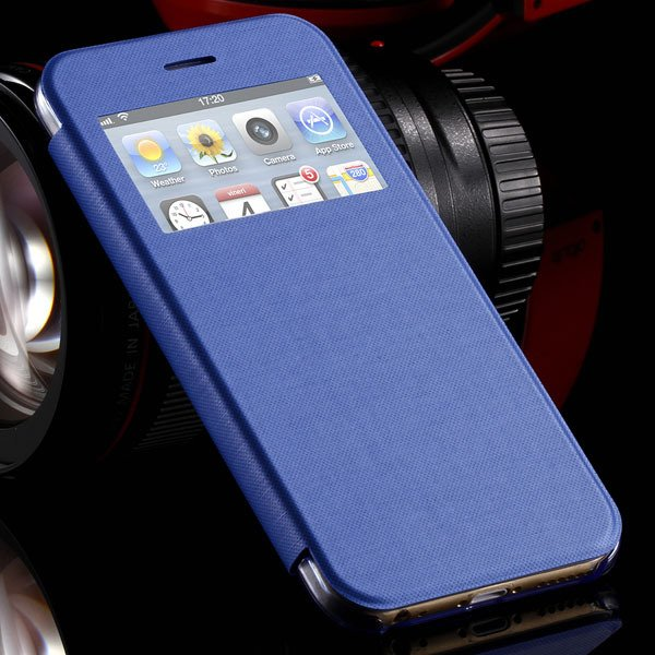 I6 Plus Window View Case For Iphone 6 Plus 5.5Inch Flip Pu Leather 32236780961-4-sky blue