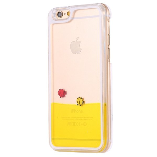 I6 Dynamic Quicksand Back Case Clear Cover Flow With Liquid Fish F 32277186221-7-fish yellow