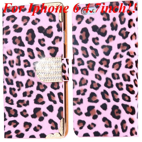 For Iphone 6 Bling Diamond Leather Case Flip Leopard Full Cover Fo 32258215017-2-pink for iphone 6
