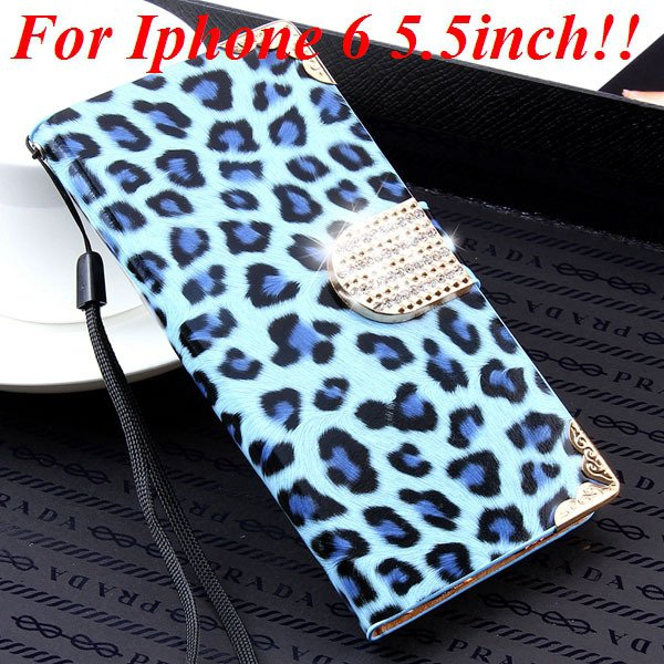 For Iphone 6 Bling Diamond Leather Case Flip Leopard Full Cover Fo 32258215017-8-sky blue for plus