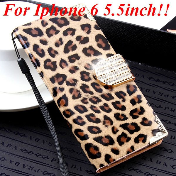 For Iphone 6 Bling Diamond Leather Case Flip Leopard Full Cover Fo 32258215017-9-brown for plus