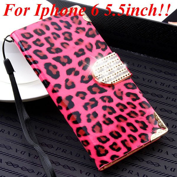 For Iphone 6 Bling Diamond Leather Case Flip Leopard Full Cover Fo 32258215017-10-hot pink for plus