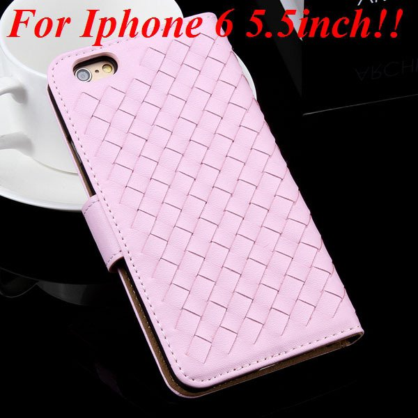 For Iphone 6 Leather Case Flip Weave Full Cover For Iphone 6 4.7In 32257737480-9-pink for plus
