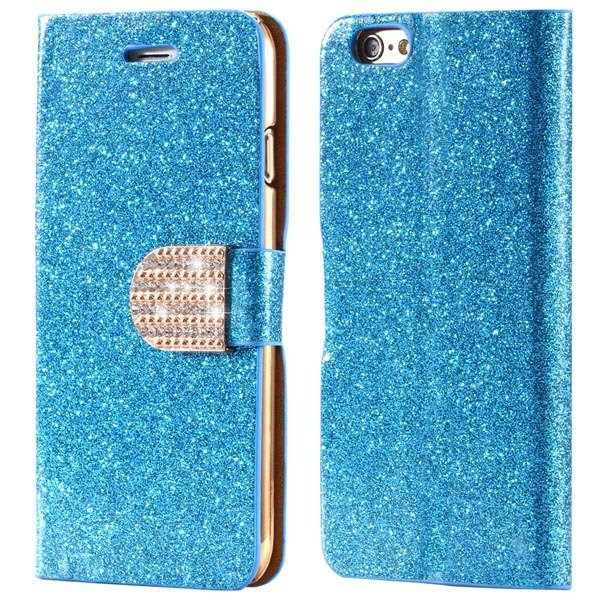 Bling Shiny Diamond Full Case For Iphone 6 Plus 5.5Inch Leather Ph 32246570657-1-blue