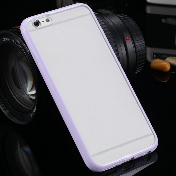 I6 Candy Color Case Fashion Mat Pc + Tpu Frame Clear Cover For Iph 32303226521-5-purple