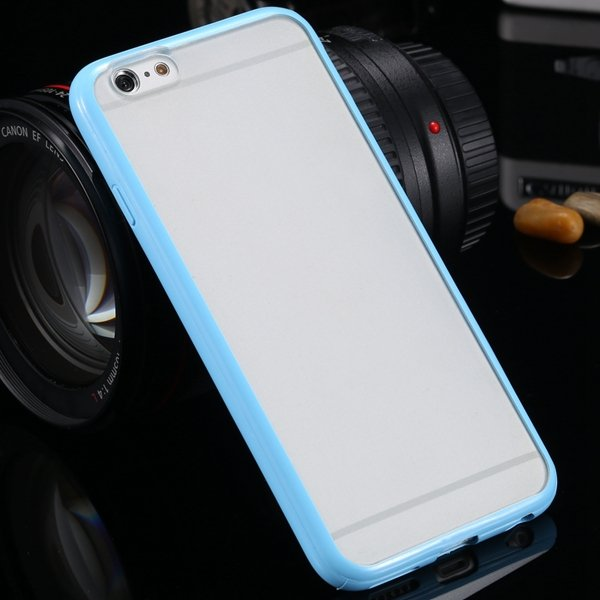 I6 Candy Color Case Fashion Mat Pc + Tpu Frame Clear Cover For Iph 32303226521-10-light blue
