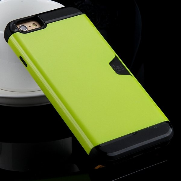 I6 Slim Case Hard Pc + Soft Tpu Back Cover With Card Slot Stand Fo 32275777854-7-green
