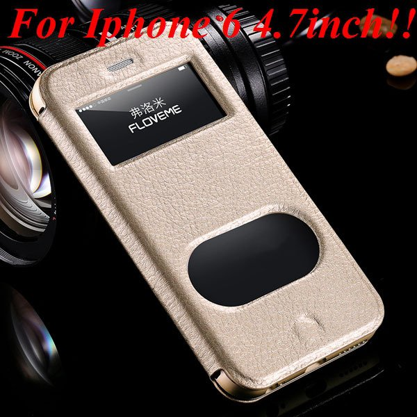 I6/6 Plus Dual Window Case Luxury Genuine Leather Cover For Iphone 32289636912-3-gold for iphone 6