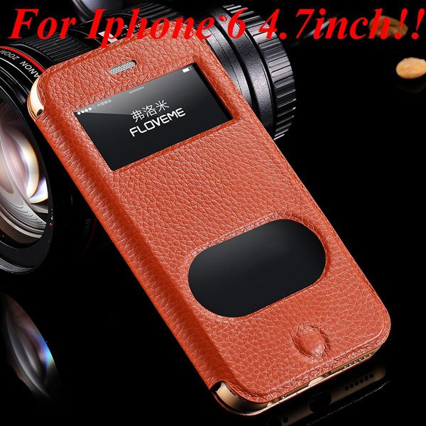 I6/6 Plus Dual Window Case Luxury Genuine Leather Cover For Iphone 32289636912-4-brown for iphone 6