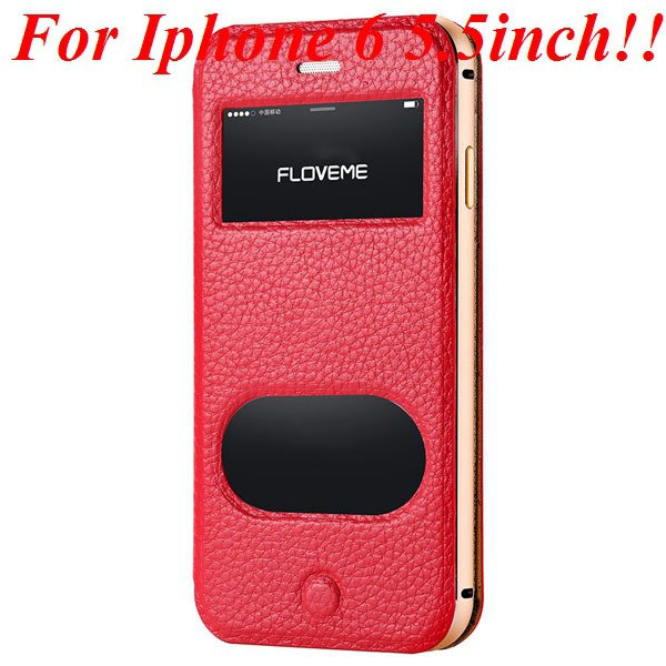 I6/6 Plus Dual Window Case Luxury Genuine Leather Cover For Iphone 32289636912-6-red for plus
