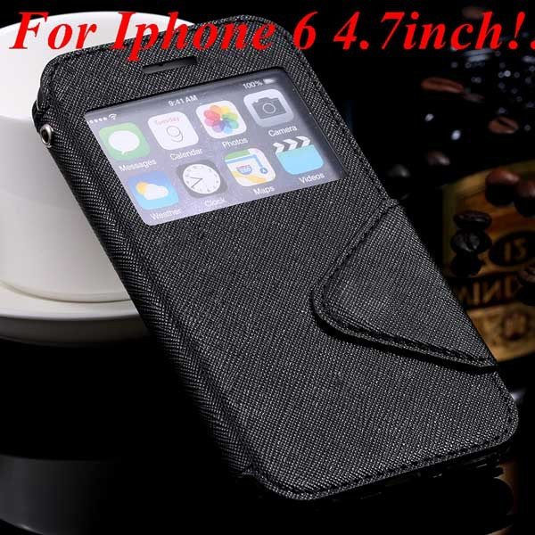I6 Plus Window Case Pu Leather View Cover For Iphone 6 4.7Inch/5.5 32268160034-2-black for iphone 6